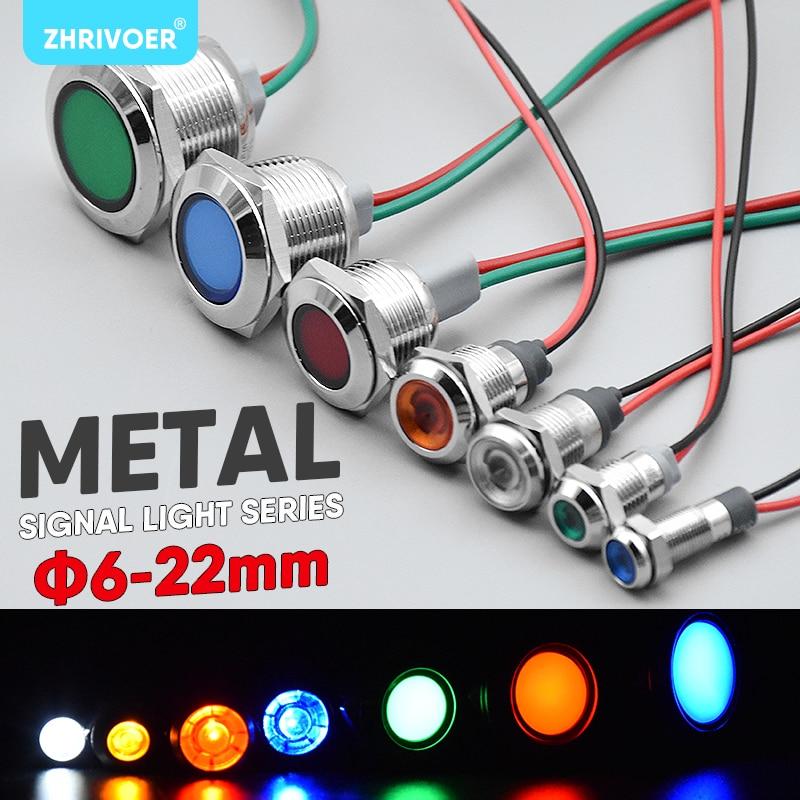 1pc 6mm 8mm 10mm 12mm 16mm Waterproof IP67 Metal LED Warning Indicator Light Signal Lamp Pilot Wire 3V 5V 12V 24V 110V 220V