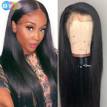 Perruque Lace Frontal Wig lisse brésilienne, cheveux Remy, 13x4, pre-plucked, avec Baby Hair, 180%