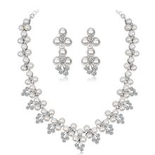 цена на Women Girls Jewelry Set Stylish Pearl Rhinestone Necklace + Earring Eardrop for Banquet Wedding Valentine's Day Gift