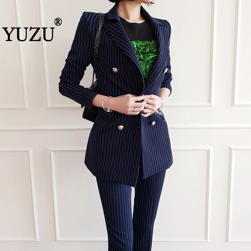 Pant Suits For Women Autumn Winter Blazer Set Blue Stripe Woman Suits Lady Suit Office Long Sleeve Double-breasted Two Piece Set