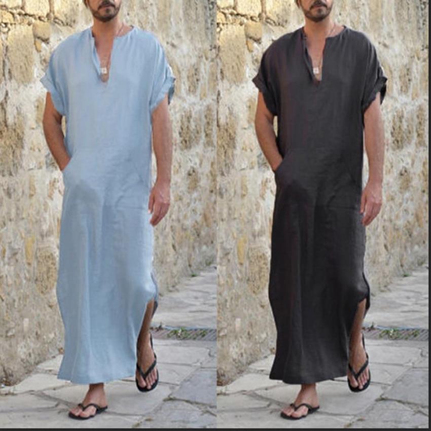 Saudi Arab Dubai Long Jubba Thobe For Man Muslim Islamic Traditional Clothing Long Robe Loose Kaftan Summer Short Sleeve Shirt