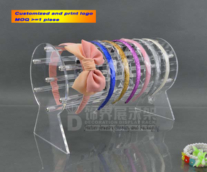 Image 1 - Neueste 30cm & 50cm Lange Acryl Headwear Display Rack Stirnband Zeigt Stand Haar Zubehör Halter Schmuck Schaufenster Abnehmbare