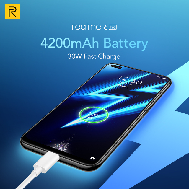 Realme 6 Pro Mobile Phone 6.6inch 90Hz Display 64MP Camra 8GB 128GB Snapdragon 720G Smartphone 4300mAh Battery 30W Flash Charge 8