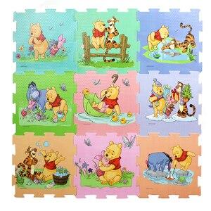 Kubuś puchatek mata z pianki 9 sztuk/paczka 30x30cm za sztukę Mickey Minnie dziecko dziecko zagraj mata podłogowa gra dywan mata dla niemowlęcia