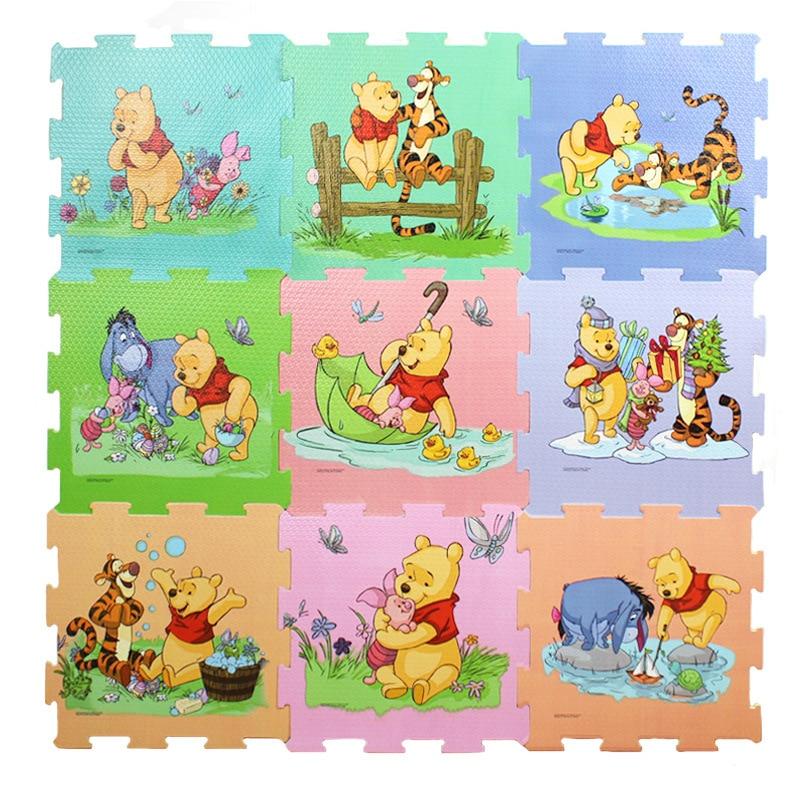 Winnie The Pooh Foam Mat 9pcs/pack 30x30cm Per Piece Mickey Minnie  Baby Child Play Floor Mat  Game Carpet Crawling Mat