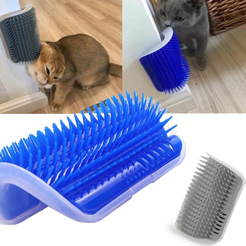 Щетка для кошек, угловая расческа для массажа кошек, расческа для самостоятельного ухода, кошка натирает лицо щеточкой, щеточка для кошек, п...