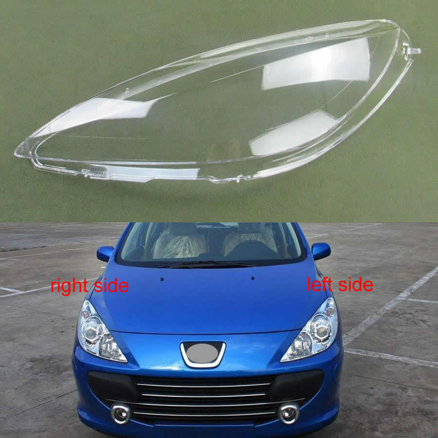 For Peugeot 307 2003 2004 2005 2006 2007 Front Headlamps Transparent Cover Lampshades Lamp Shell Masks Headlights Cover Lens