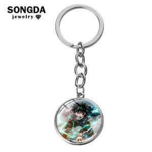 Брелок SONGDA My Hero Academia для косплея, мидория лзуку, аниме, фото, стекло, подвеска, кольцо для ключей с игрушкой, сумка, автомобильный брелок для л...