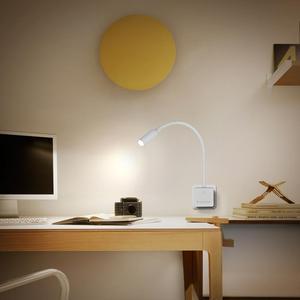 Image 5 - Luz LED de pared enchufable, lámpara de lectura con brazo oscilante regulable, para cabecera, 3W, 280Lm, iluminación blanca Natural, 5000K