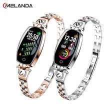 H8 חכם שעון נשים עמיד למים ניטור קצב לב Bluetooth עבור אנדרואיד IOS כושר צמיד Smartwatch זרוק חינם