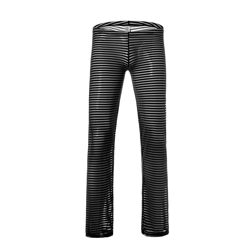 Sexy Men's Transparent Long Johns Pants Casual Homewear Breathable Sheer Mesh Pajamas Trousers Soft Striped Leggings Underwear