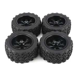 4Pcs 120mm 7 Contour Public Word Fetal Flower Off-road Wheel Rim and Tires for 110 Monster Truck Racing RC Car Accessories