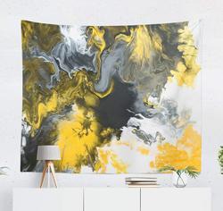 Szary i żółty sztuki dekoracyjne gobelin czarno-biały z złoty marmur abstrakcyjne akrylowe ściany wiszące