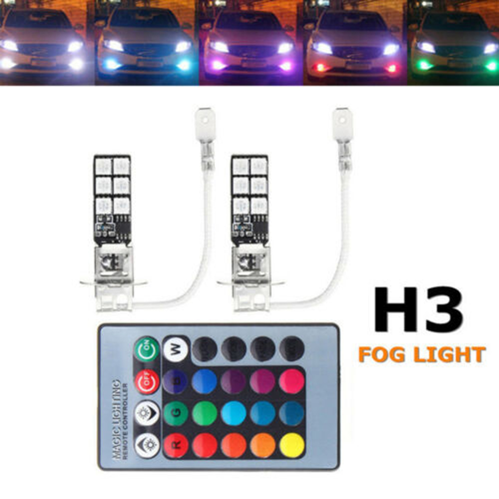 2pcs Car Fog Lights H3 5050 RGB Car Lights Fog Light Bulb + Remote Control  LED 12SMD