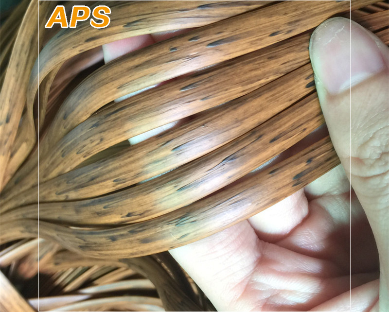 70m Wood Grain  Gradient  Flat Synthetic PE Rattan Weaving Material Plastic Rattan For Knit And Repair Chair