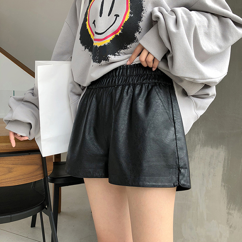 High Quality Pu Leather Shorts Women Wide Leg Faux Leather Shorts High Waist  Shorts For Women  Autumn Loose Pu Shorts