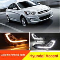 2Pcs LED DRL For 2012 2013 Hyundai Accent Car LED DRL Daytime Running Light Fog Lamp Grille And Waterproof Wire Of Harness