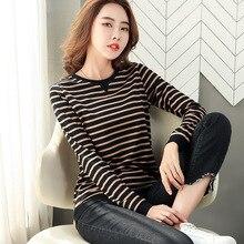 shintimes Striped T-Shirt 2020 Spring Tshirt Loose Woman Clothes Womens
