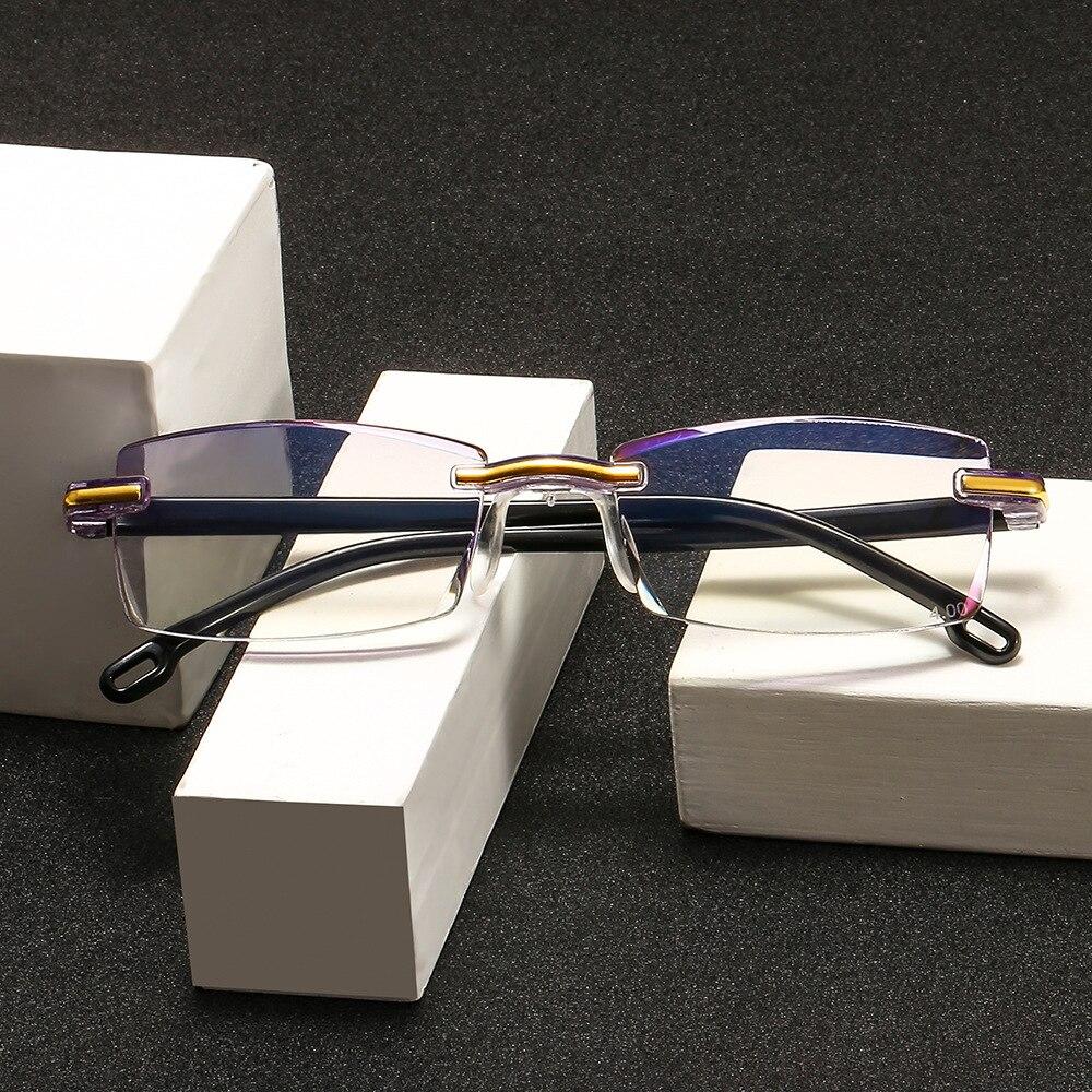 Ультралегкие безрамные очки для чтения, женские очки для чтения, против усталости, против синего света, защита глаз для компьютера + 1,5 + 2,5 + 3,5
