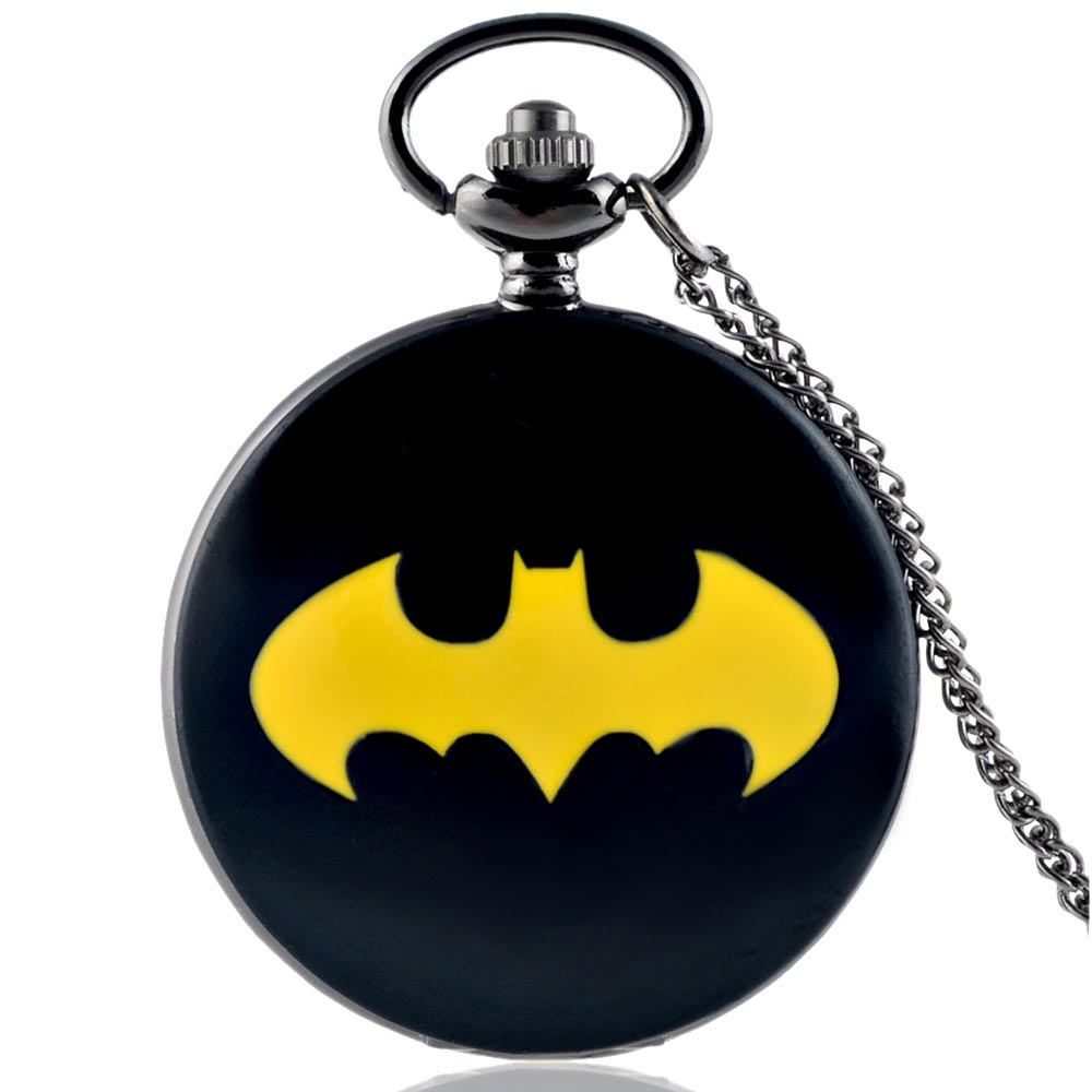 Fashion Black Batman Quartz Pocket Watch Vintage Men Women Pendant Necklace Gift