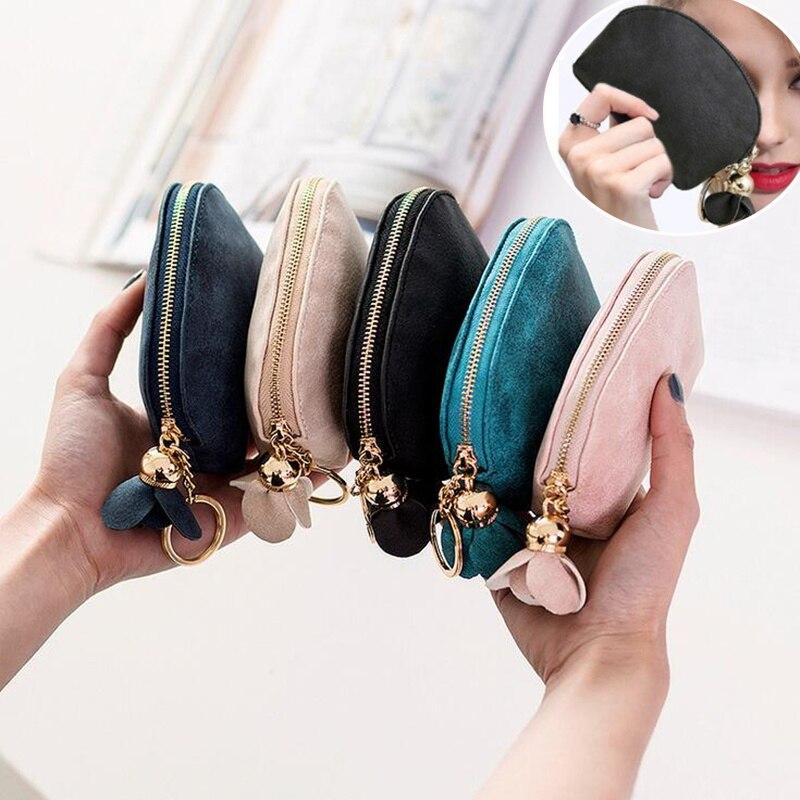 Цветочный кошелек для монет, женский маленький мини-кошелек из искусственной кожи, держатель для кредитных карт с кольцом для ключей, женск...