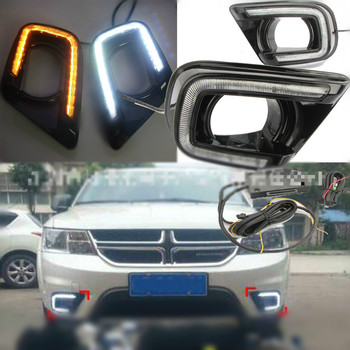 LED Daytime Running Light For Dodge Journey Fiat Freemont 2014 2015 2016 Yellow Turn Signal Relay DRL Fog Lamp Decoration