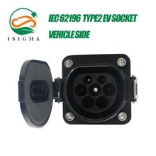 ISIGMA 16A 32A Drei Phase IEC 62196 Type2 Männlichen EV Steckdose Elektrische Auto Seite AC Lade Einlass