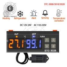 STC-3008 3018 3028 ac 110-220v dc12v 24v 10a dupla digital controlador de temperatura higrômetro aquecimento termostato refrigeração incubadora