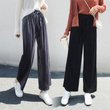 Women Ankle Length Pants Elastic High Waist Wide Leg Winter Autumn Pleuche Trousers Casual Loose Velvet Bell Bottom