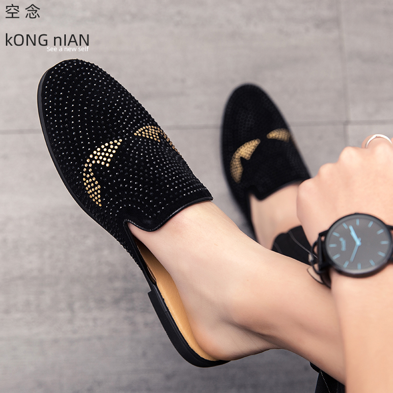 Fashion Summer Leather Mules Men's Shoes Daily Flat Outdoor Men Shoes Pointed Toe Loafers Black Men Casual Shoes  Slingbacks Men