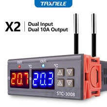 STC-3008 Dual Digital Temperature Controller Two Relay Output 12V 24V 220V Thermoregulator Thermostat Heater Cooler dual probe