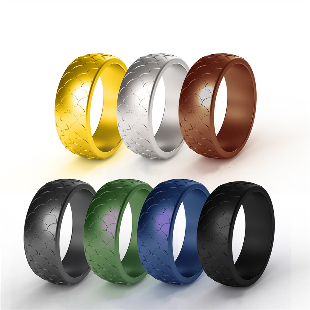 7pcs lot Food Grade Fish Scale Silicone Ring Hypoallergenic Flexible Sports Antibacterial 8 7mm Finger Rings Rubber Wedding Ring in Wedding Bands from Jewelry Accessories