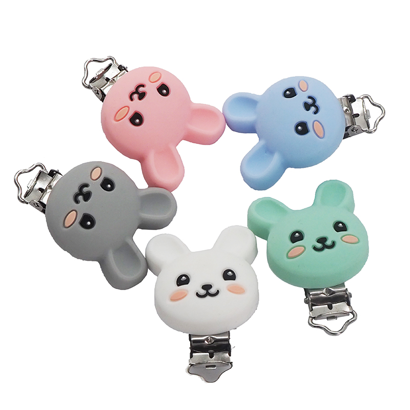 Chenkai 10PCS BPA Free DIY Silicone Rabbit Teether Baby Animal Pacifier Dummy Nursing Soother Sensory Toy Gift Accessoriesv