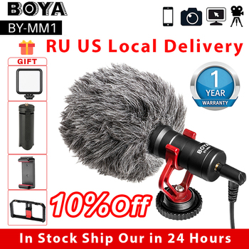 BOYA BY-MM1 Video Record Microphone for DSLR Camera Smartphone Osmo Pocket Youtube Vlogging Mic for iPhone Android DSLR Gimbal boya by wm4 lavalier wireless microphone system for canon nikon sony panasonic dslr camera camcorder iphone android smartphone