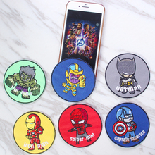 DIY Embroidered Patches Clothes Avengers Kids Hulk Superhero Captain America Iron On Patch For Clothing Boys