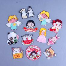 Pulaqi Cartoon Angel Embroidered Badge Iron On Patches For Clothing Cute Animal Kids Clothes Ironing Stickers DIY H