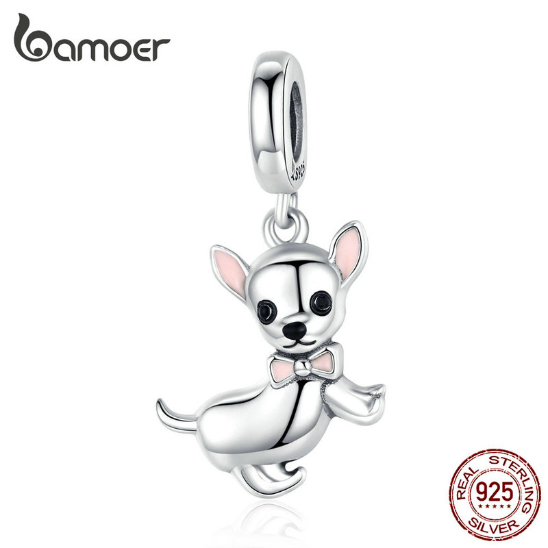 Bamoer Cute Pet Chihuahua Dog Pendant Charm Silver 925 Original Pink Enamel Ear Fashion Jewelry Gifts Girl Accessories SCC1317