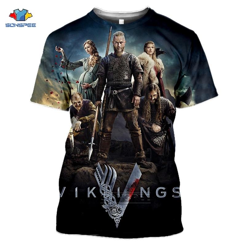 SONSPEE Tv Series Vikings T Shirt Women Ragnar Lothbrok Tshirt Homme Fashion 3D Print Hip Hop T-Shirts Summer Black Oversize Top