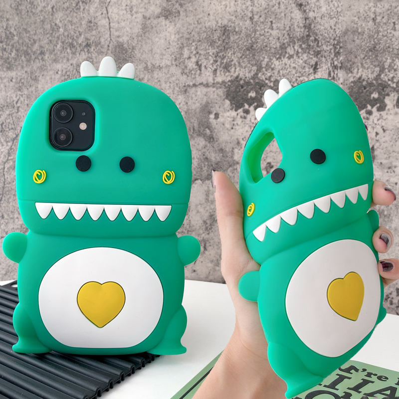 3D Cute Cartoon Heart Dinosaur Phone Case For Iphone 12 Mini 11 Pro Max XR X XS Max 7 8 Kawaii Soft Silicone Shockproof Cover