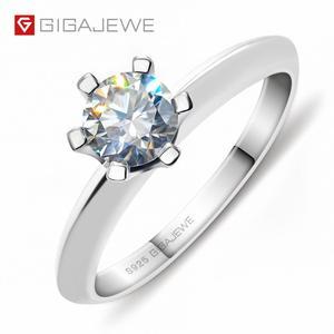 Image 1 - GIGAJEWE 0.5ct 5 مللي متر EF الجولة 18K الذهب الأبيض مطلي 925 الفضة مويسانيتي خاتم الماس اختبار مرت مجوهرات امرأة صديقة هدية