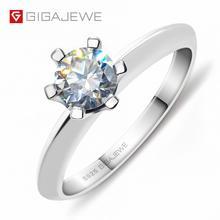 GIGAJEWE 1.0ct EF 6.5 milímetros Rodada 18K Banhado A Ouro Branco 925 Prata Anel de Diamante de Moissanite Teste Passou de Jóias Mulher presente namorada