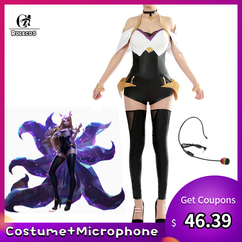 ROLECOS Game LOL Cosplay Costumes Group K/DA Ahri Lead vocal Sexy Dress KDA for Women