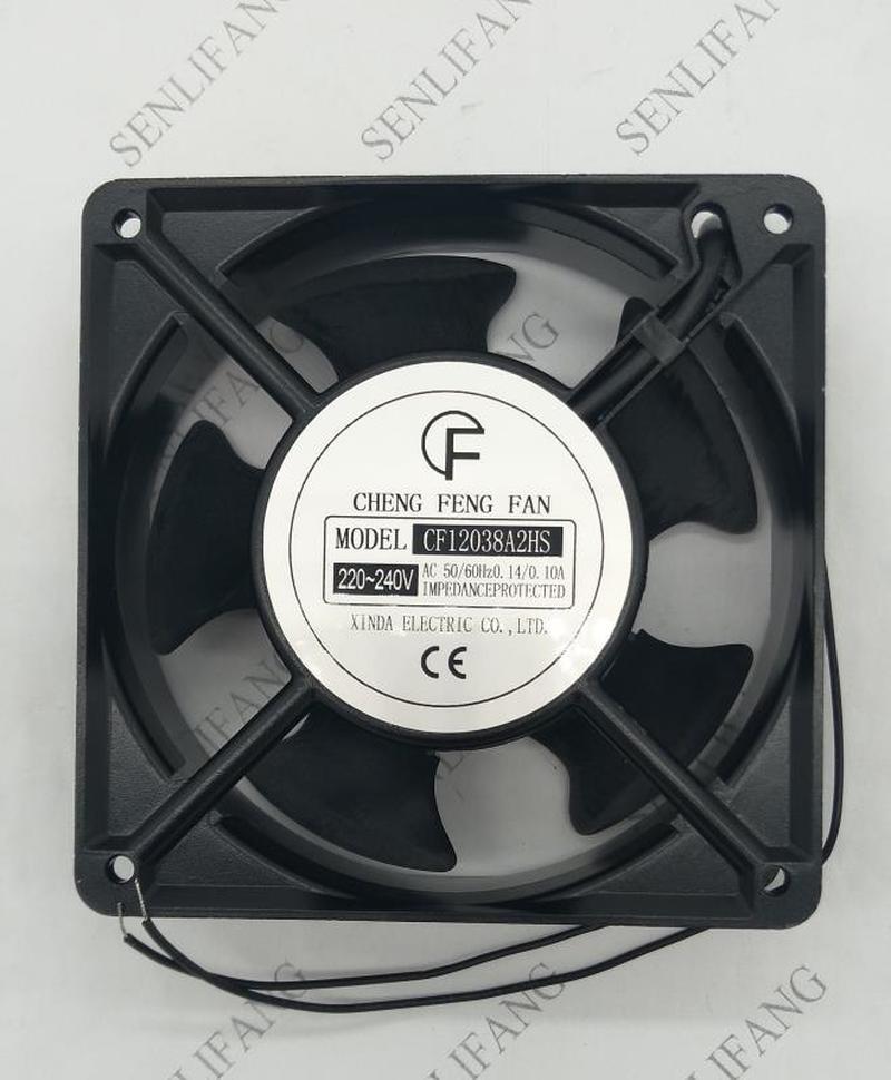 Free Shipping  CF12038A2HS AC 220V-240V 0.14A/0.1A 50/60HZ 12038 12cm 120*120*38mm 2 Wires Oil Bearing Cooling Fan