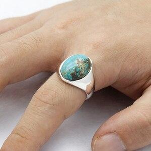 Image 5 - Prawdziwe 925 srebro pierścionek dla człowieka z niebieski kamień naturalny Vintage eleganckie pierścionki mężczyzna kobiet Unisex turecki ręcznie robiona biżuteria