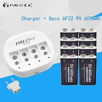 PALO 4 Slots High Quality Intelligent Battery Charger For Rechargeable 6F22 9V Lithium Battery+8pcs 9V 600mAh Li ion Batteries