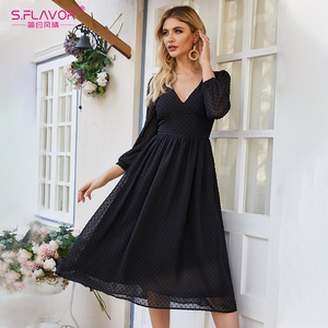 Image 5 - S. טעם נשים שחור סקסי המפלגה Vestidos 2020 סתיו אופנה חדש שיפון שמלת נשים צווארון V Slim בוהמי אונליין שמלות