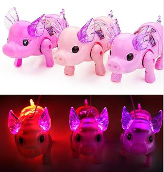 Electric Walking Singing Musical Light Up Pig Toy with Leash Kids Led Flash Pet Boys Girls Birthdy Chritmas Party Favor