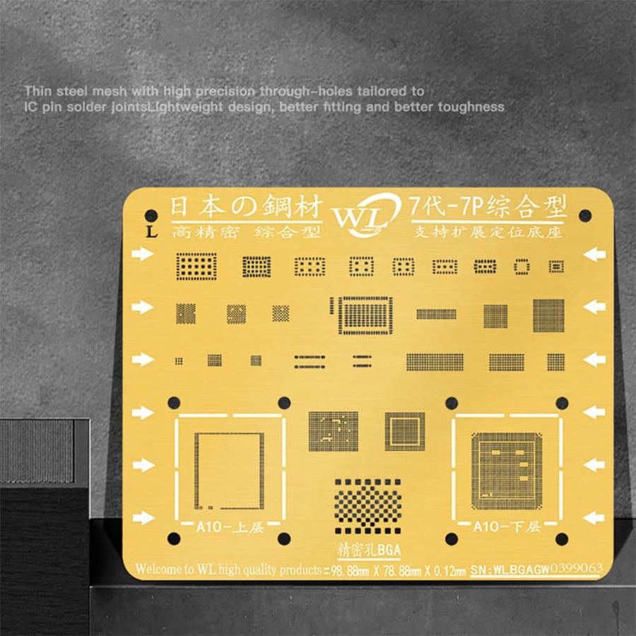 WL Golden BGA Reballing Stencil Kit 0.12mm Thickness Tin Mesh Solder Template for iPhone XSMAX XS XR X 8 8P 7P 7 6P 6 5 5S 6