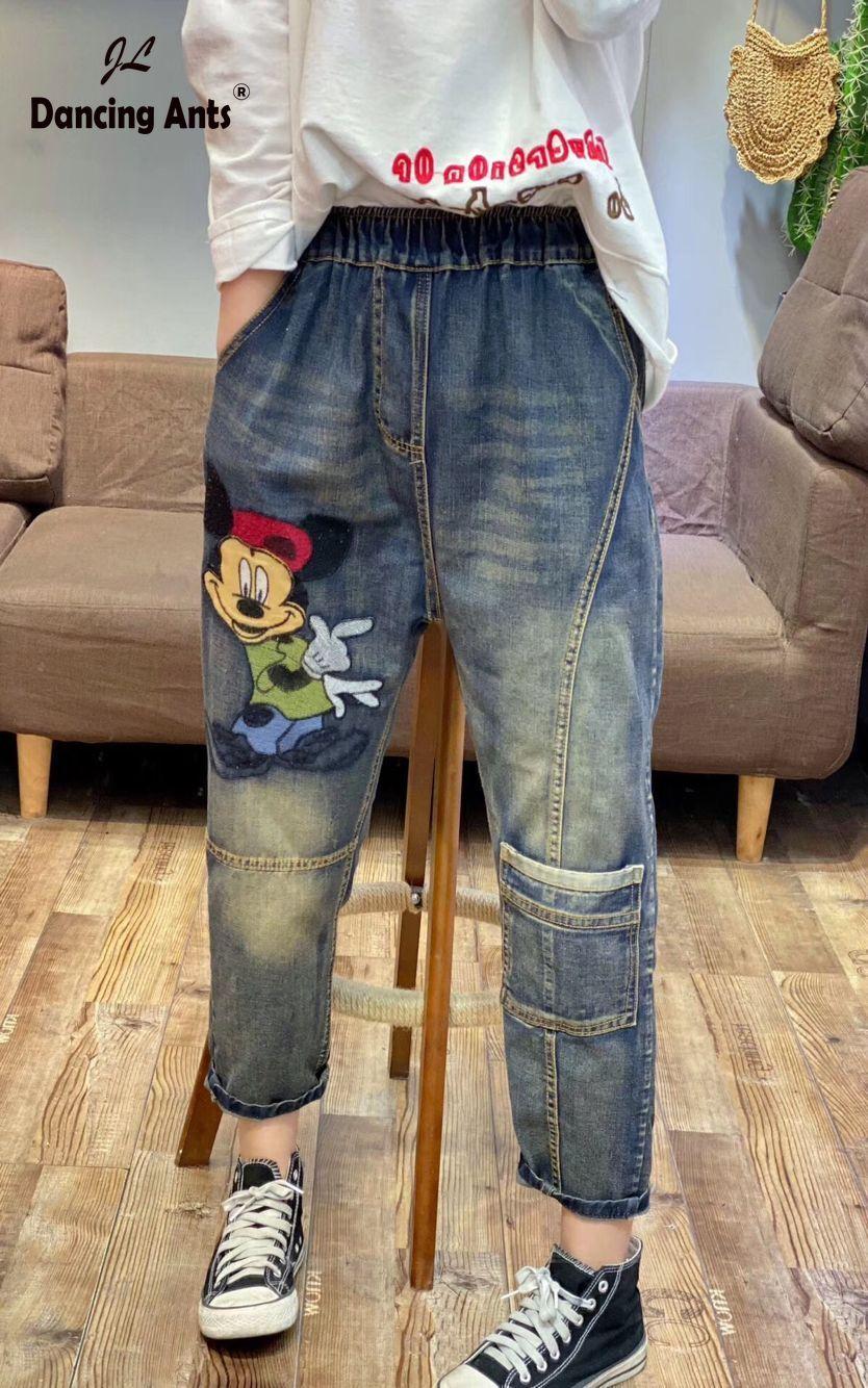 Embroidery  Jeans For Women Boyfriend Vintage Jeans For Woman Mom's Jeans Pencil  Cartoon Pants Denim Jeans Mujer Jean Femme