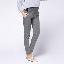 Maternity Adjustable Pant Business Wear Pregnancy Pants Cropped Trousers for Work Lattice
